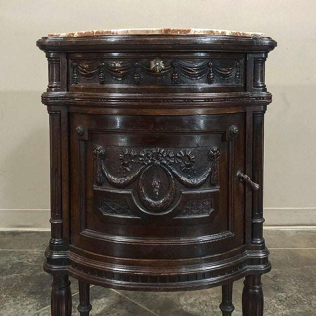 Red Pair 19th Century Italian Walnut Louis XVI Marble Top Nightstands For Sale - Image 8 of 13