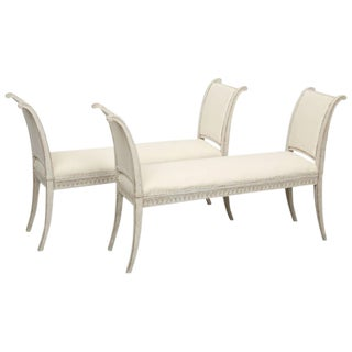 Pair of Antique Swedish Gustavian Benches with Curved Arms, Mid-19th Century