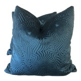 "Image of Vibrant Teal Cut Velvet 22"" Pillows-A Pair For Sale"