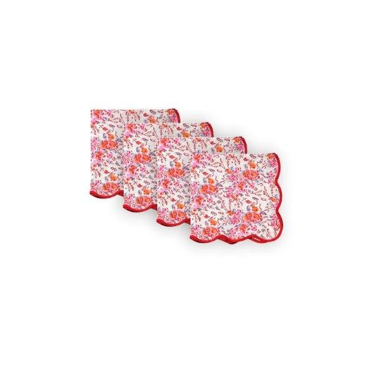 2020s Pink Floral Scalloped Napkins - Set of 4 For Sale - Image 5 of 5