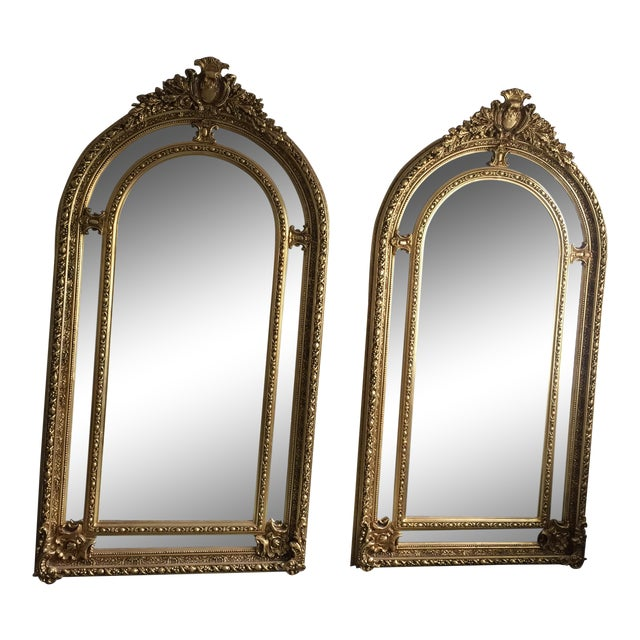 Gilded Scrolling Floor Mirrors - A Pair For Sale