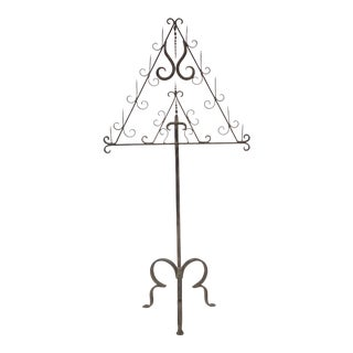 Italian Eleven-Prong, Wrought Iron Standing Candelabra For Sale