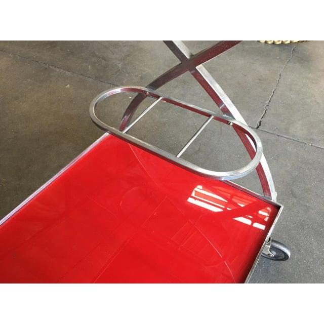 Metal Jacques Adnet Inspired Chromed Aluminum Bar Cart, 1960 For Sale - Image 7 of 7