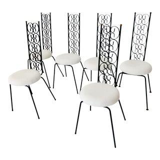 1970s Mid Century Modern Arthur Umanoff Iron Chairs- Set of 6 For Sale