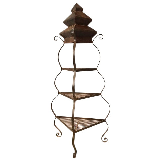Impressive and Chic Hand Wrought Iron & Steel Pagoda Top 7 Ft. Plant Stand Etegere For Sale