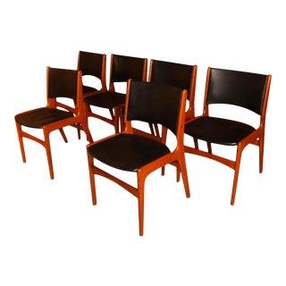 6 Mid Century Teak Dining Chairs Model 89 Erik Buch for Povl Dinesen For Sale