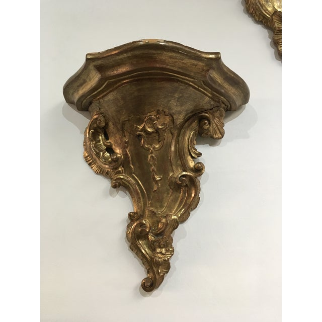 19th Century Rococo Gilt Wall Shelves - a Pair For Sale - Image 4 of 12