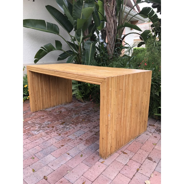 Vintage Pencil Reed Bamboo Waterfall Dining Table or Desk For Sale - Image 9 of 9