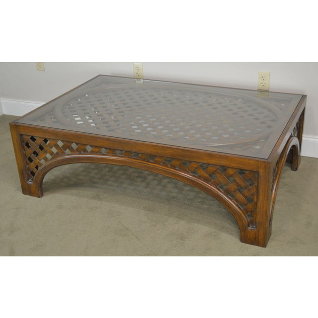Large Custom Lattice Wood Glass Top Coffee Table Chairish