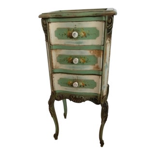 20th Century Shabby Chic Green Nightstand/Chest For Sale