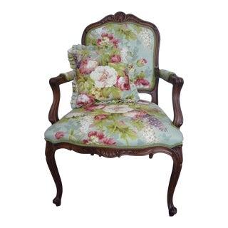 """Vintage Ethan Allen """"Spectrum"""" Floral Armchair For Sale"""