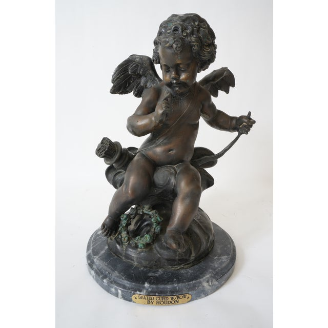 """Vintage After Houdon """"Seated Cupid With Bow"""" Bronze Sculpture For Sale - Image 13 of 13"""