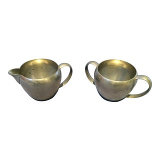 Vintage W.S. Company Pewter Cream and Sugar Set