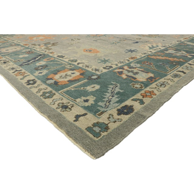 52812 Contemporary Turkish Oushak Rug with Coastal Bliss Vibes, 12'00 X 15'07. This hand knotted wool contemporary Turkish...