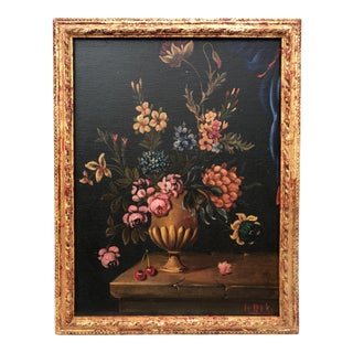 Vintage Oil Painting of a Floral Still Life in an Urn by H. Riki C. 1940 For Sale