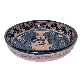 Vintage Floral Feather Pink and Blue Print Bowl For Sale