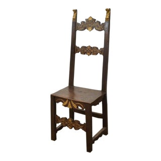Rustic 19th Century Spanish Gilt Carved High Back Chair For Sale