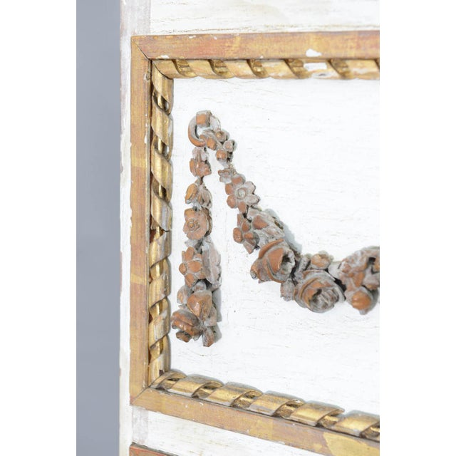 Narrow 19c. Painted and Parcel Gilt French Trumeau Mirror For Sale - Image 10 of 11