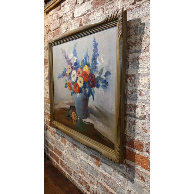 Canvas Nell Walker Warner- Large Floral Still Life -Beautiful Oil painting -Impressionist c1920s For Sale - Image 7 of 10