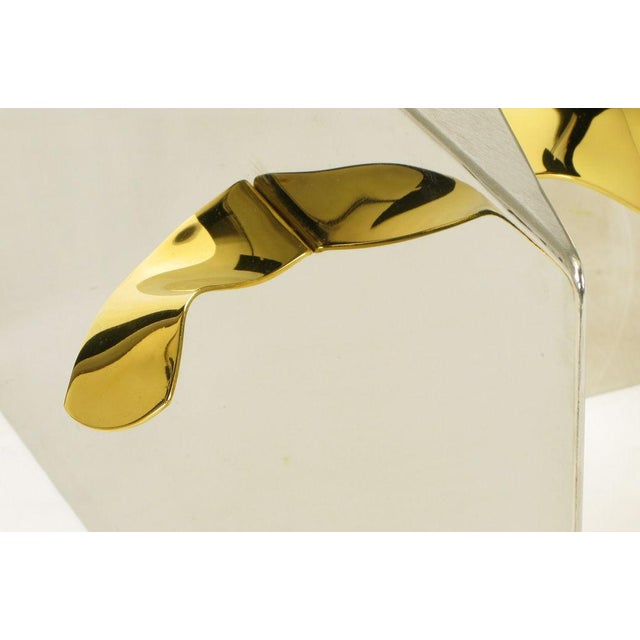 Custom Artisan Chrome, Brass, And Glass Coffee Table - Image 10 of 10