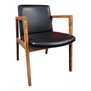 Vintage Mid-Century Marble Imperial Walnut Frame & Black Vinyl Chair