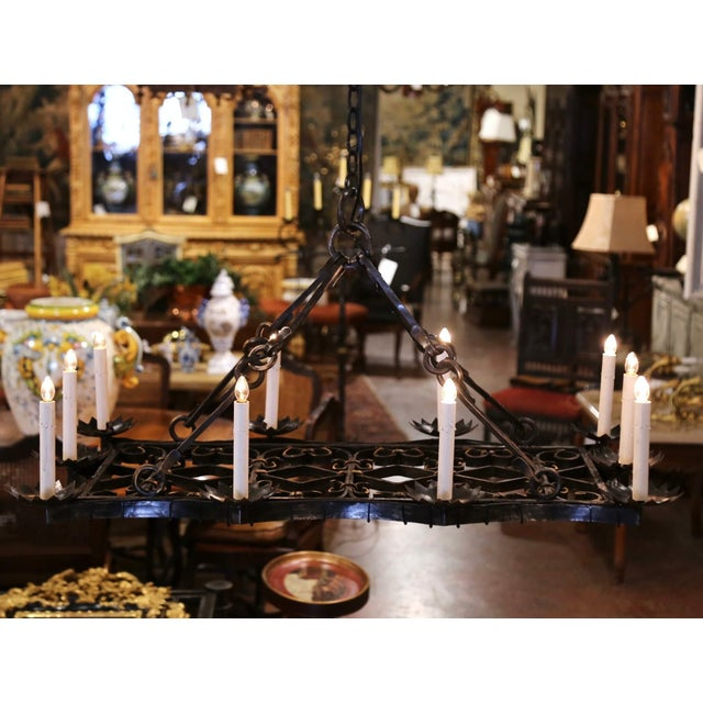 19th Century French Gothic Forged Iron Flat Bottom Ten-Light Chandelier For Sale In Dallas - Image 6 of 13