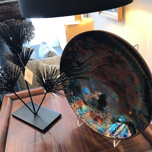 Artist Blue and Bronze Abstract Decorative Platter - Image 8 of 8