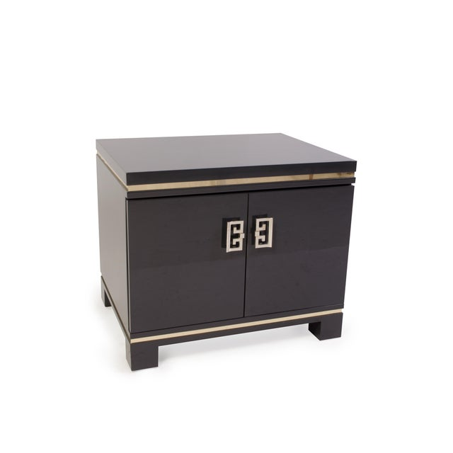 Mid-Century Grey Lacquer & Brass Greek Key Pulls Nightstands - Pair - Image 3 of 7