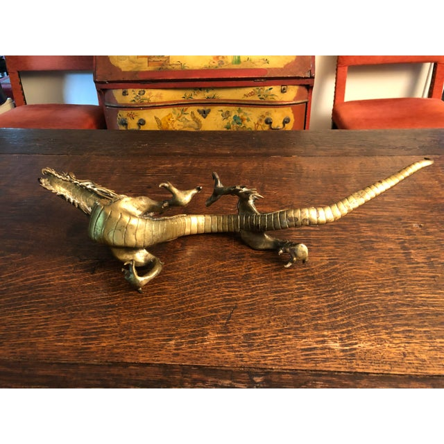 Antique Asian Articulated Dragon Sculpture Holding Glass Ball For Sale - Image 9 of 13
