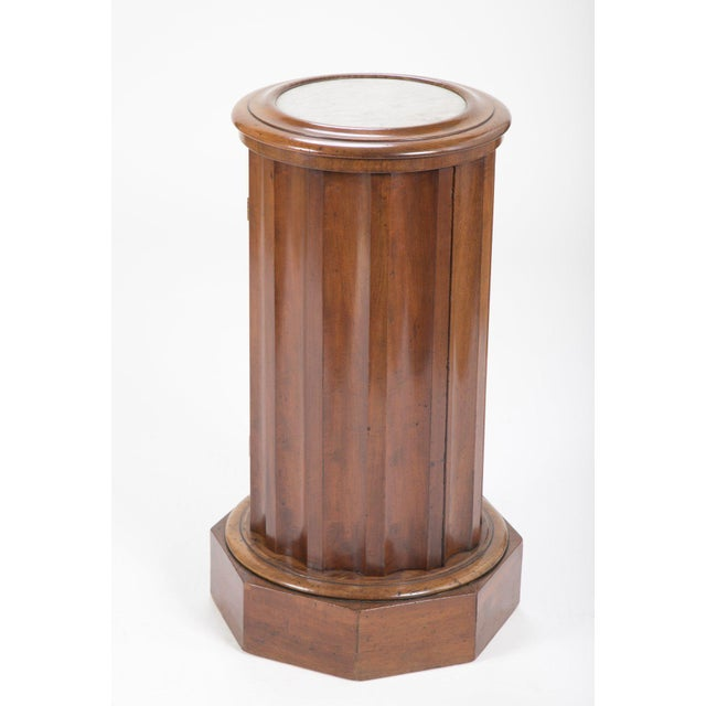 White Octagonal Base Mahogany Side Cabinet With Round Inset Marble Top For Sale - Image 8 of 9