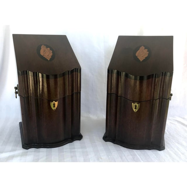 Antique English Mahogany Knife Cutlery Boxes - a Pair For Sale - Image 12 of 12