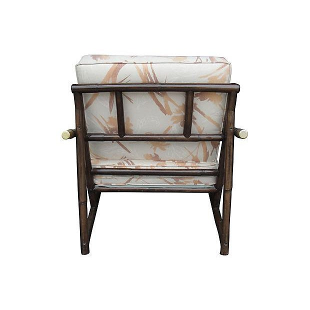 Mid Century Style Bamboo Armchair & Ottoman For Sale - Image 4 of 6