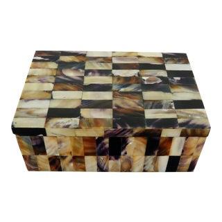 Vintage Tiled Mother of Pearl Tile Box For Sale