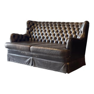 Vintage English High Back Tufted Leather Settee For Sale