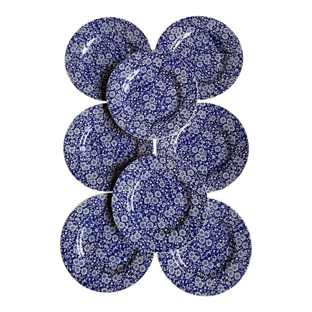1980s English Traditional Blue and White Calico Chintz China Dessert or Salad Plates - Set of 8 For Sale