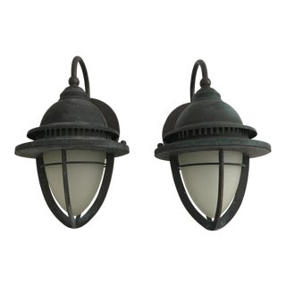 Vintage Industrial Bronze Sconces - a Pair For Sale
