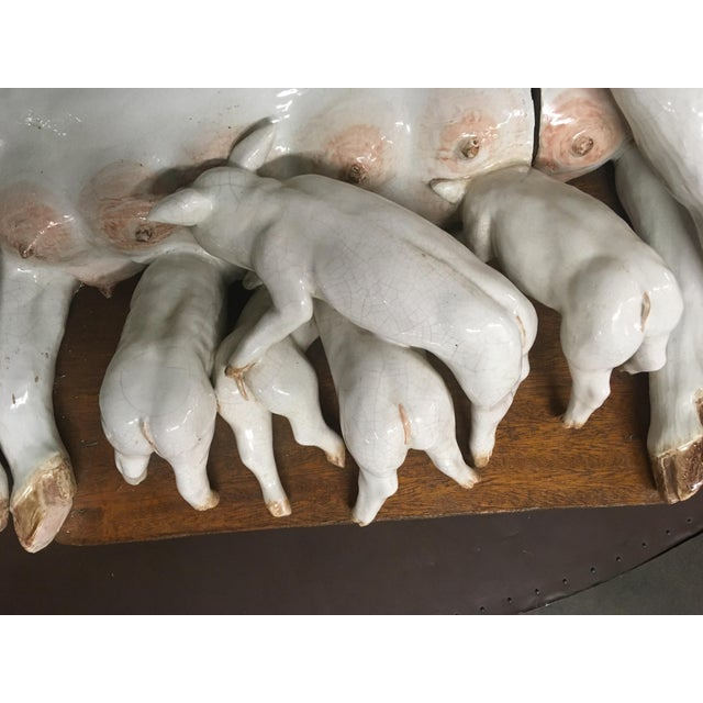 Figurative Large Wall Plaque Porcelain Pig W/ Piglets - German C. 1840 For Sale - Image 3 of 4