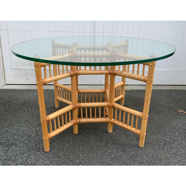 Willow and Reed Willow and Reed Bamboo and Glass Round Dining Table For Sale - Image 4 of 11