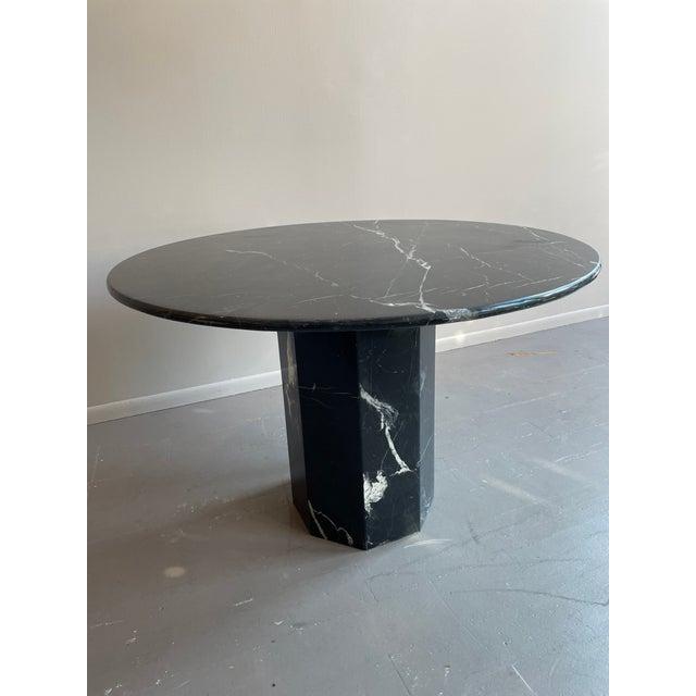 Postmodern Postmodern Black Pedestal Marble Dining Table For Sale - Image 3 of 6