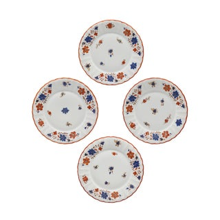 Antique German Porcelain Floral Dessert or Salad Plates - Set of 4 For Sale