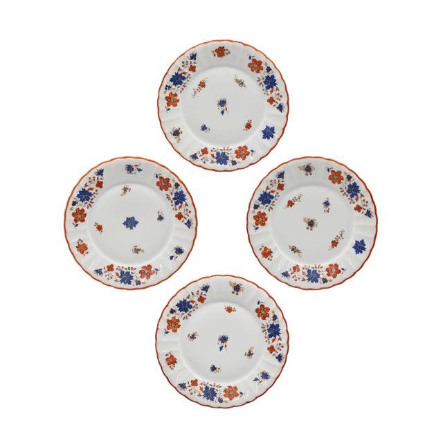 Antique German Porcelain Floral Dessert or Salad Plates - Set of 4 For Sale