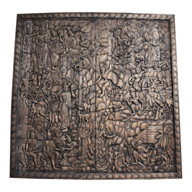 Monumental Southeast Asian Teakwood Figurative Panel of Buddha For Sale