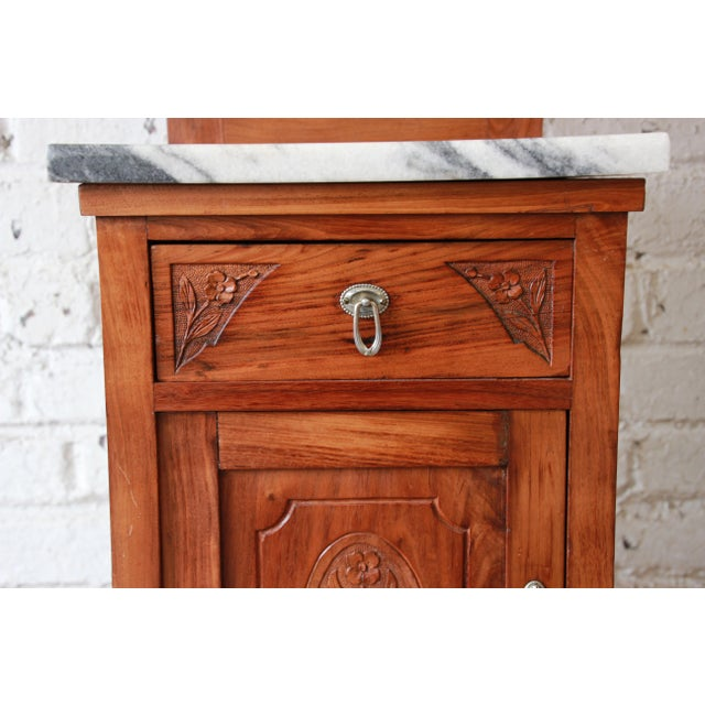 Victorian Walnut & Marble Nightstands - a Pair - Image 9 of 11