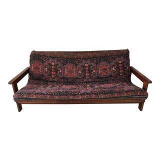 1980s Vintage Brazilian Solid Cherrywood Futon Sofa Bed For Sale