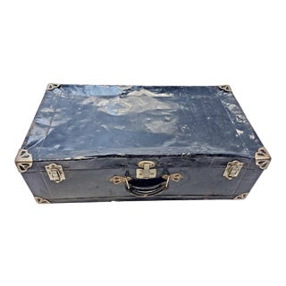 Vintage Distressed Black Metal Storage Trunk For Sale
