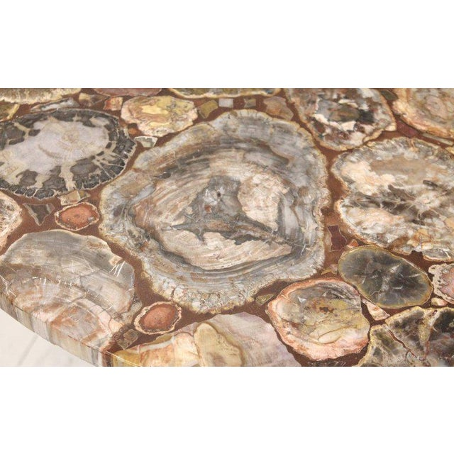 Brown Set of Four Petrified Wood and Wrought Iron Coffee Tables For Sale - Image 8 of 10