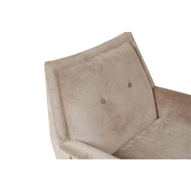 Velvet Upholstered Brass Frame Lounge Chair Attributed to Harvey Probber For Sale In Chicago - Image 6 of 7