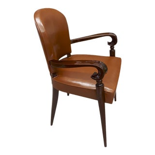 Maxime Old Documented Mahogany Desk Chair Newley Covered in Leather For Sale