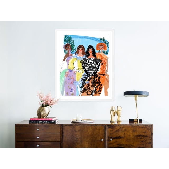 Contemporary Garden of Rodarte by Annie Naranian in White Frame, Medium Art Print For Sale - Image 3 of 4