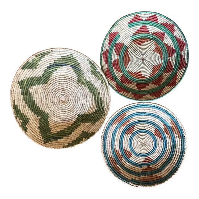 1970s African Flat Baskets - Set of 3 For Sale